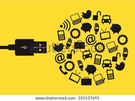 usb with icons over yellow background. vector illustration