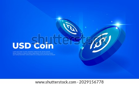USD Coin or USDC coin banner. USD Coin digital stablecoin with crypto currency concept banner background.