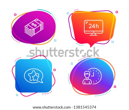 Usd currency, Star and 24h service icons simple set. Working hours sign. Buying commerce, Favorite, Call support. Project deadline. Speech bubble usd currency icon. Colorful banners design set. Vector