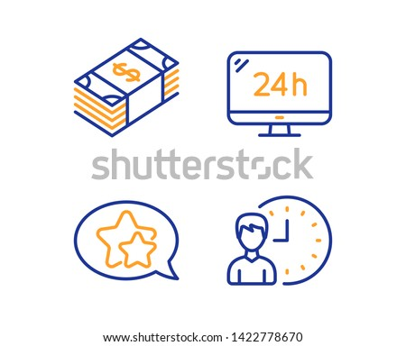 Usd currency, Star and 24h service icons simple set. Working hours sign. Buying commerce, Favorite, Call support. Project deadline. Linear usd currency icon. Colorful design set. Vector