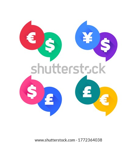 USD, EUR, GBP and JPY money sign symbols. Banner badges, various colors. Dollar, Euro, Pound and Yen currency icons. Chat bubble vector shape.