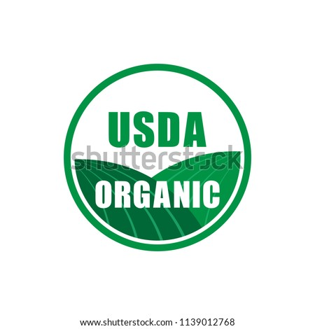 usda organic certified stamp symbol no gmo vector icon. Vector stock illustration.