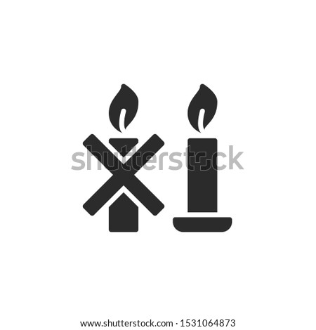 Use a candle holder specifically designed for candle use. filled icon. Labeled for fire safety. Labeling for wax candles. Sings for desing, for a website, for label printing.