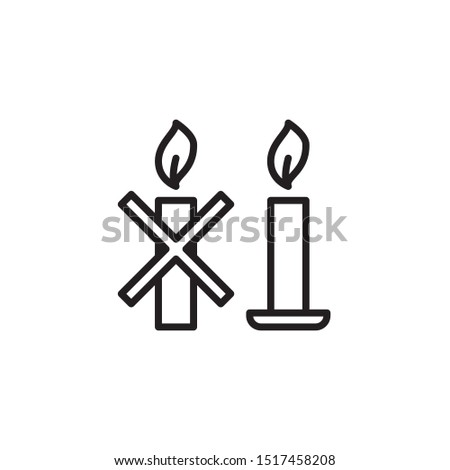 Use a candle holder specifically designed for candle use. line icon. Labeled for fire safety. Labeling for wax candles. Sings for desing, for a website, for label printing.