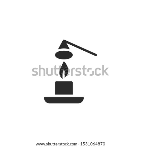 Use a candle snuffer to extinguish a candle filled icon. Labeled for fire safety. Labeling for wax candles. Sings for desing, for a website, for label printing.
