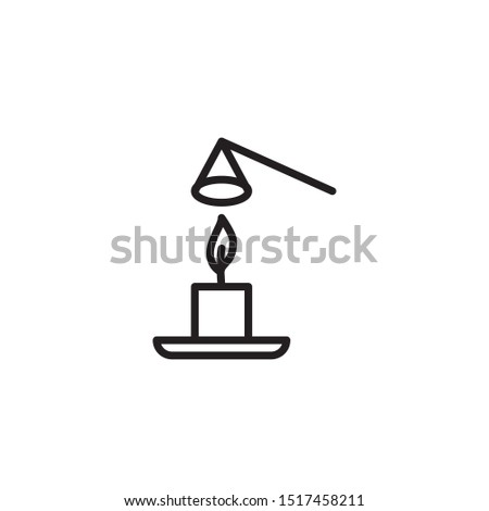 Use a candle snuffer to extinguish a candle line icon. Labeled for fire safety. Labeling for wax candles. Sings for desing, for a website, for label printing.