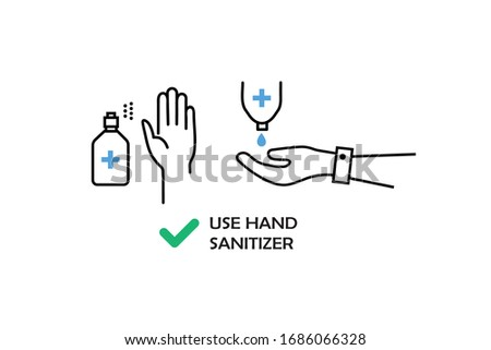 Use hand sanitize icon.Hand Sanitize Dispenser, infection control concept. Sanitize to prevent colds, virus, Corona-virus, flu. Sanitize bottle and keep your hands clean on white background.