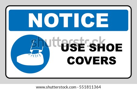 Use shoe covers sign. Protective safety covers must be worn, mandatory sign in blue circle isolated on white, vector illustration. Notice label