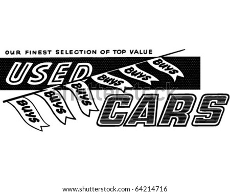 Used Car Buys - Ad Banner - Retro Clipart