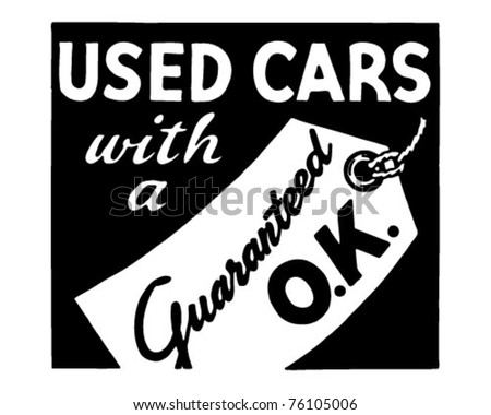 Used Cars With A Guaranteed OK - Retro Ad Art Banner