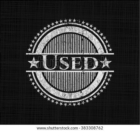 Used chalk emblem written on a blackboard