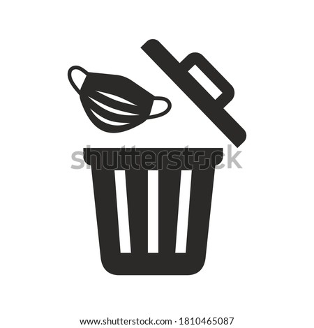 Used face mask icon. Put it in the bin. Don't drop it, just bin it. Vector icon isolated on white background. Foto stock ©