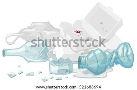 Used foam box and broken bottles on the floor illustration