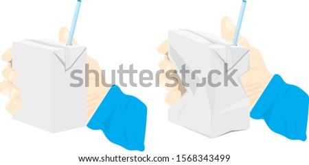 Used juice carton is crumple on