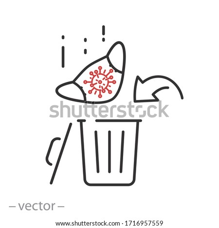 used mask icon, throw out in the bin, thin line web symbol - editable stroke vector illustration eps 10 Stock photo ©