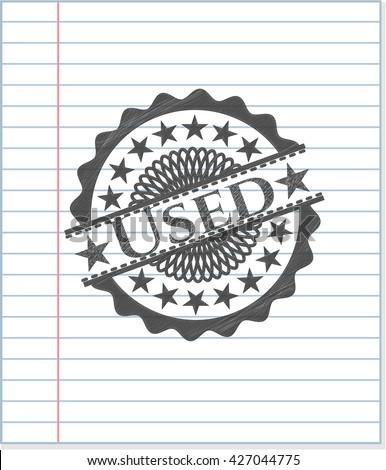 Used pencil emblem