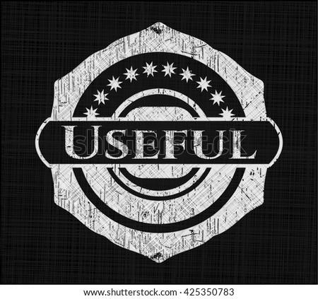 Useful chalkboard emblem written on a blackboard