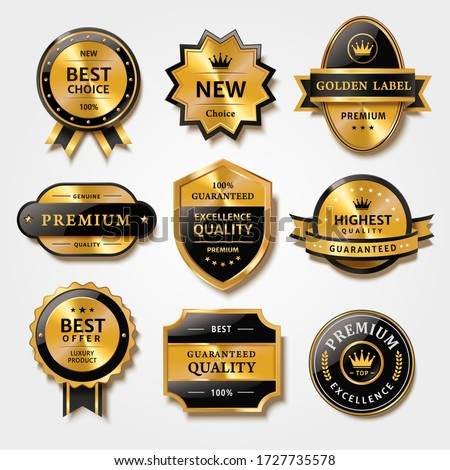 Useful collection of badges and labels in metal texture design, for premium product packaging, isolated on white background