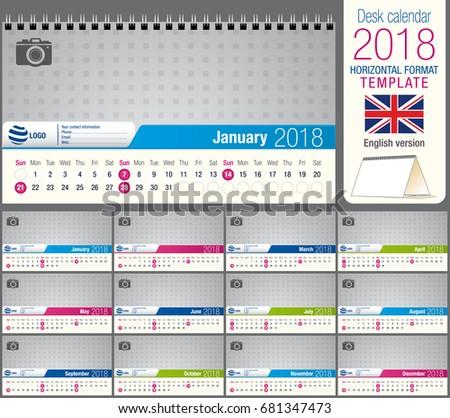 Design Template Of Desk Calendar 2018 - Download Free Vector Art ...
