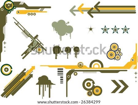 Useful set of vector design elements in a military color scheme. Easy to change to your own colorways.
