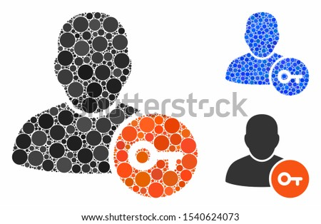User access key composition of circle elements in different sizes and shades, based on user access key icon. Vector circle elements are organized into blue mosaic.