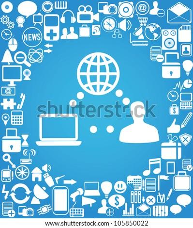 user and social media - vector illustration - stock vector