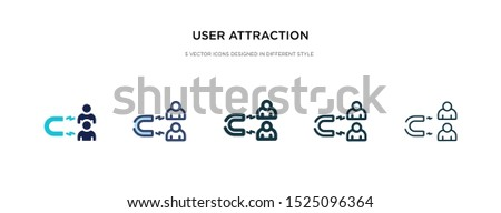 user attraction icon in different style vector illustration. two colored and black user attraction vector icons designed in filled, outline, line and stroke style can be used for web, mobile, ui