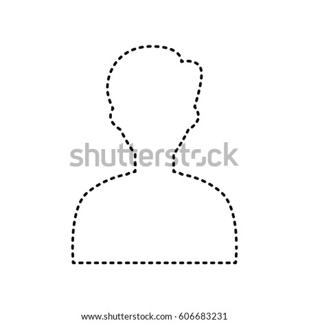 User avatar illustration. Anonymous sign. Vector. Black dashed icon on white background. Isolated.
