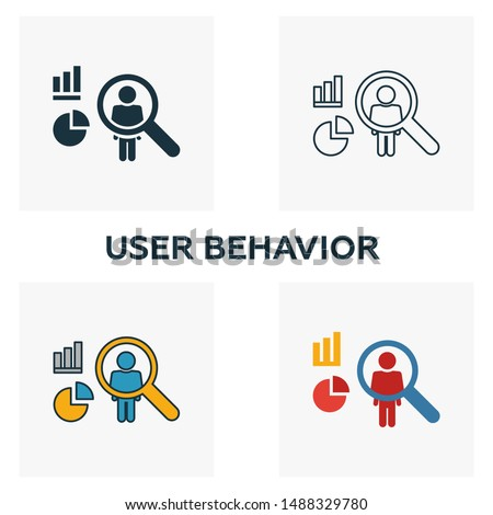 User Behavior icon set. Four elements in diferent styles from big data icons collection. Creative user behavior icons filled, outline, colored and flat symbols.