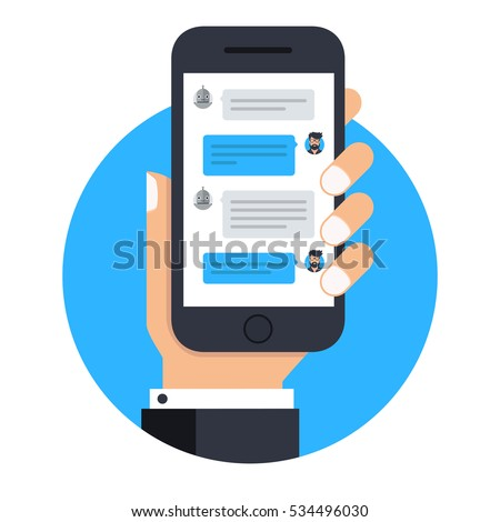 User chatting with chat bot on smartphone. Message for chat bot in mobile application. Vector icon