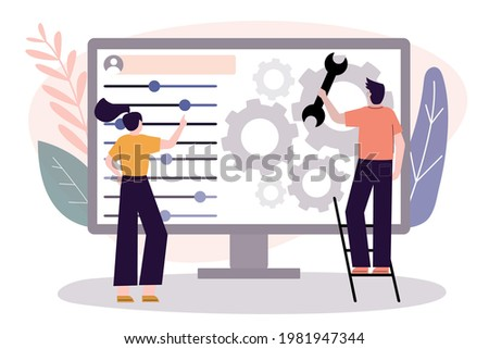 User customize settings on monitor. Computer screen with users personal page. User interface customization, programming. Concept of creating, setting personal pages and repairing. Vector illustration