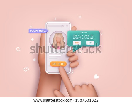 User deleting social account Concept of delete profile, account deactivation, remove data files or page. 3D Web Vector Illustrations.