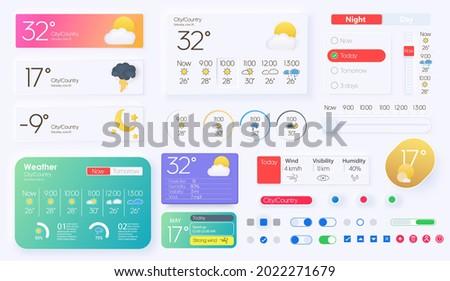 User elements for weather mobile app. Widgets, quick access adaptive interface. Temperature, atmospheric pressure, weather condition user interface generator. Unique neumorphic ui ux design kit.