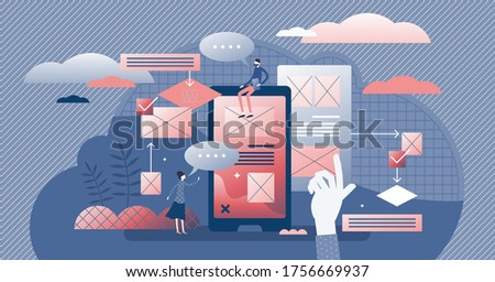 User friendly experience vector illustration. Web feedback flat tiny persons concept. Application usability optimization for home page or application easy usage. Customer opinion analysis management. Stock photo ©