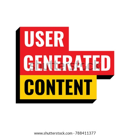 User generated content. Vector illustration poster, banner on white background.