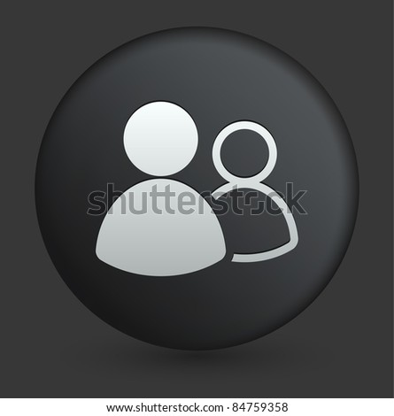 User Group Icon on Round Black Button Collection Original Illustration