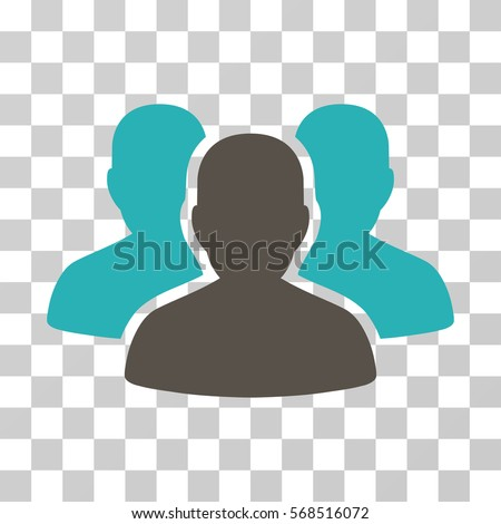 User Group icon. Vector illustration style is flat iconic bicolor symbol, grey and cyan colors, transparent background. Designed for web and software interfaces.
