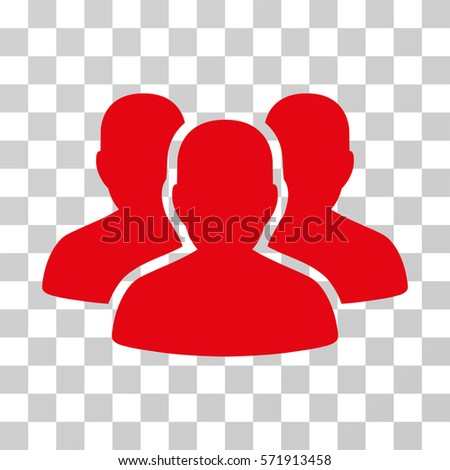 User Group icon. Vector illustration style is flat iconic symbol, red color, transparent background. Designed for web and software interfaces.