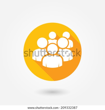 User group network icon. Flat icon with long shadow. Orange and white colors. Crowd of people icon isolated on white background. Computer user icon. Forum icon button. User friendly
