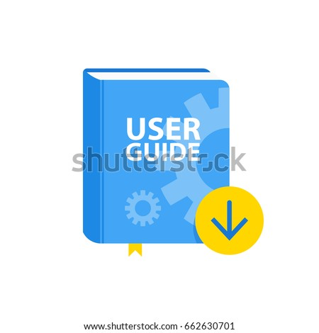 User Guide book download icon. Flat vector illustration.