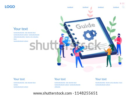User Guide book, download, People are reading book with instructions for web page, banner, presentation, social media. Vector illustration User manual discussing, Requirements specifications document
