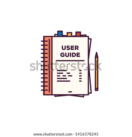 User guide book. Handbook with cover and text user guide. Line style vector. Instructions and guidance manual textbook. Tutorial or other education vector flat style banner.