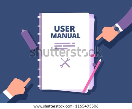User guide document. User manual, reference with people hands. Handbook, instruction and guidebook vector concept. Hand book guide, guidebook tutorial, help and instruction illustration