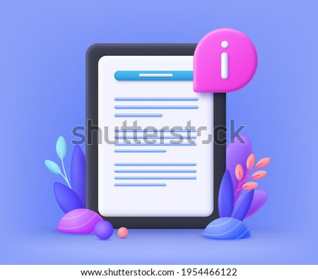 User guide manual concept for web banner, infographic, mobile.  Instruction and guidebook. 3d vector illustration. Сток-фото ©