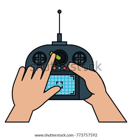 user hand with drone remote control
