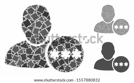 User hidden password mosaic of irregular pieces in different sizes and color tints, based on user hidden password icon. Vector irregular pieces are combined into mosaic.