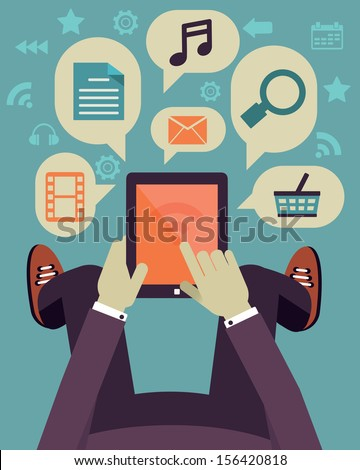 User hold mobile device. Tablet pc with applications. Flat design - vector illustration