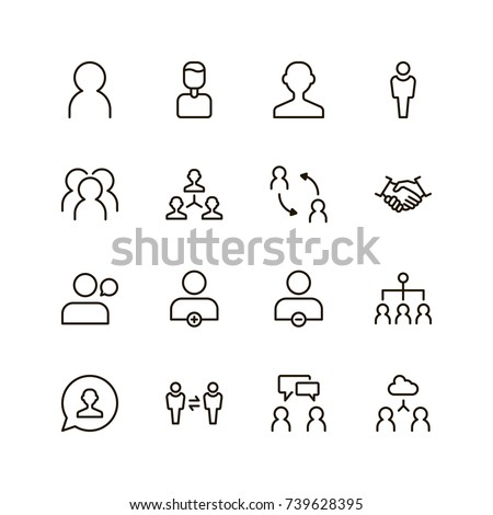 User icon set. Collection of high quality outline people pictograms in modern flat style. Black profile symbol for web design and mobile app on white background. Man line logo. #739628395