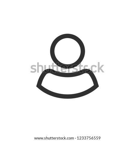 User icon vector, line outline person symbol isolated on white, profile silhouette pictogram or avatar, login or my account icon