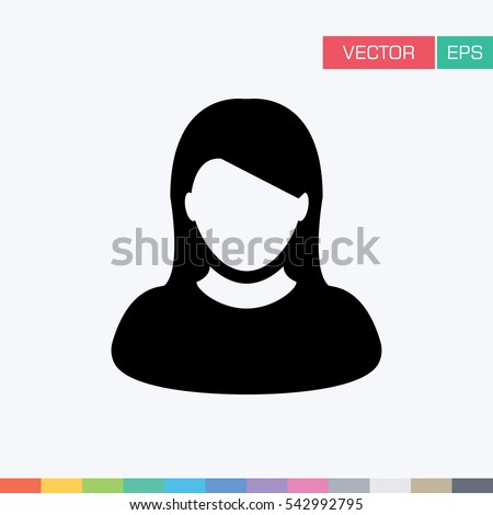 User Icon - Woman / Female Vector Flat Color People Person Profile Avatar in glyph Pictogram Symbol illustration